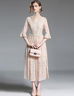 abordables Colecciones de Diseño-Mujer Sofisticado Chic de Calle Línea A Corte Swing Vestido - Encaje, Un Color Maxi