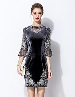 Χαμηλού Κόστους MARCOBOR-Γυναικεία Βίντατζ Εφαρμοστό Φόρεμα - Μονόχρωμο Πάνω από το Γόνατο