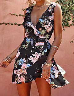 お買い得  レディースドレス-女性用 モダンシティ シース ドレス - プリント, フラワー 膝上
