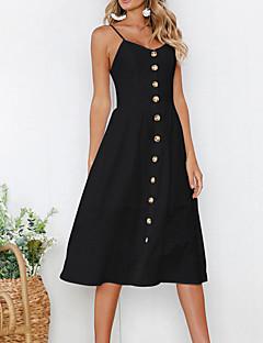 baratos Vestidos de Mulher-Mulheres Para Noite Básico Moda de Rua Delgado Bainha Vestido - Frente Única, Sólido Com Alças Médio Preto