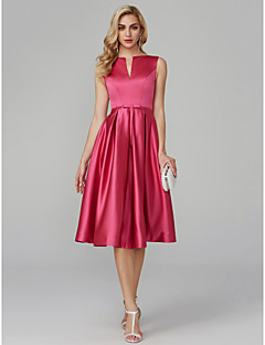 cheap Cocktail Dresses-A-Line V Wire Knee Length Satin Cocktail Party / Prom Dress with Sash / Ribbon by TS Couture®