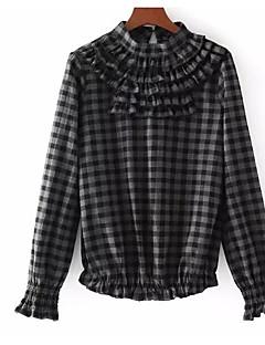 billige Skjorte-Dame-Ruder Trykt mønster Basale Skjorte