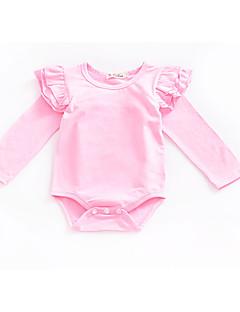 billige Babytøj-Baby Pige Daglig / Ferie Ensfarvet Krøllede Folder Langærmet Bomuld Bodysuit