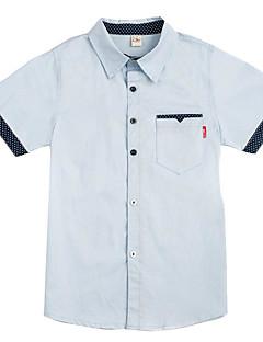 billige Overdele til drenge-Drenge Daglig Trykt mønster Skjorte, Bomuld Polyester Sommer Kortærmet Basale Hvid Lyserød Lyseblå