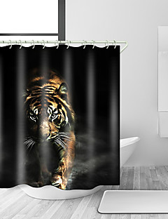 tanie Zasłony prysznicowe Najlepsza sprzedaż-Zasłony i haczyki kąpielowe Nowoczesny Poliester Zwierzę Tkany maszynowo Wodoodporny Łazienka