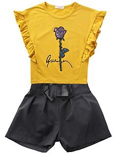 billige Tøjsæt til piger-Pige Daglig Trykt mønster Tøjsæt, Polyester Forår Sommer Kortærmet Sødt Hvid Lyserød Gul