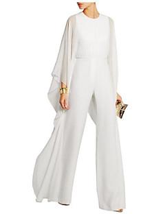 tanie Kombinezony damskie-Damskie Spodnie szerokie nogawki Impreza Biały Czarny Czerwony Spodnie szerokie nogawki Jednoczęściowe, Solidne kolory L XL XXL Długi rękaw Wiosna Lato