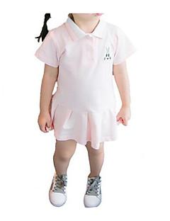 billige Babykjoler-Baby Pige Sort og hvid Ensfarvet Kortærmet Kjole