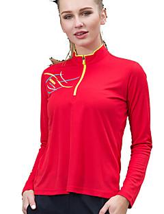 baratos Camisetas para Trilhas-Mulheres Camiseta de Trilha Ao ar livre Secagem Rápida Redutor de Suor Respirabilidade Camiseta Cursor Único Acampar e Caminhar Exercicio
