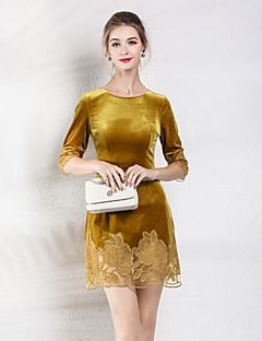 Χαμηλού Κόστους MORE BRANDS-Γυναικεία Βασικό Εφαρμοστό Φόρεμα - Μονόχρωμο Φλοράλ Πάνω από το Γόνατο