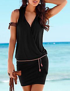 Χαμηλού Κόστους Little Black Dresses-Γυναικεία Παραλία Βασικό Θήκη Φόρεμα - Μονόχρωμο, Wrap Μίνι Λαιμόκοψη V Μαύρο / Sexy