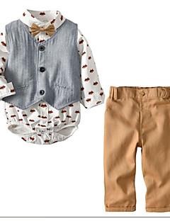 tanie Odzież dla chłopców-Dla chłopców Codzienny Urlop Geometryczny Komplet odzieży, Bawełna Wiosna Jesień Długi rękaw Khaki