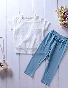 billige Tøjsæt til piger-Børn Pige Ensfarvet Blomstret Jacquard Vævning Kortærmet Tøjsæt
