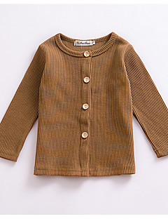 billige Sweaters og cardigans til piger-Pige Daglig Ensfarvet Trøje og cardigan, Akryl Forår Langærmet Sødt Mørkegrå Kakifarvet
