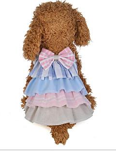 billiga Hundkläder-Hund Katt Klänningar Hundkläder Lappverk Rosett Grå Rosa Bomullstyg Kostym För husdjur Dam Klänningar & Kjolar Söt Stil