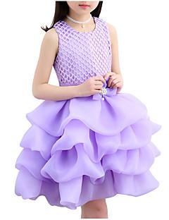 tanie Odzież dla dziewczynek-Sukienka Bawełna Poliester Dziewczyny Codzienny Jendolity kolor Żakard Lato Bez rękawów Urocza Aktywny White Blushing Pink Purple