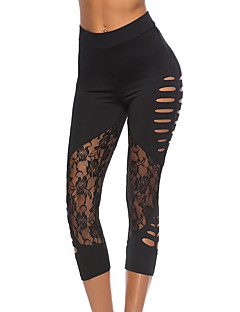 baratos Leggings para Mulheres-Mulheres Básico Skinny Calças Esportivas Calças - Sólido