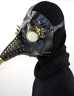 billige Halloweenkostymer-Plague Doctor / Steampunk Masquerade Mask Behave Mask / Punk Rave Svart PU Leather Cosplay-tilbehør Halloween kostymer