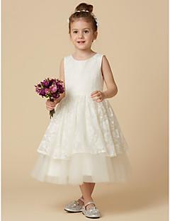 Χαμηλού Κόστους most popular-Γραμμή Α Κάτω από το γόνατο Φόρεμα για Κοριτσάκι Λουλουδιών - Δαντέλα / Τούλι Αμάνικο Με Κόσμημα με Δαντέλα με LAN TING BRIDE®
