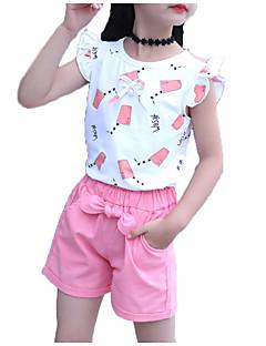 billige Tøjsæt til piger-Pige Daglig Sport Trykt mønster Tøjsæt, Bomuld Polyester Sommer Uden ærmer Sødt Aktiv Rød Lyserød