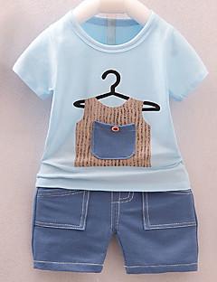 billige Sett med babyklær-Baby Unisex Geometrisk Kortærmet Tøjsæt
