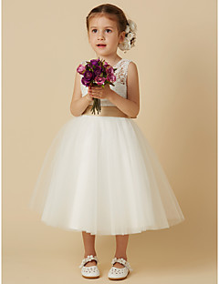 cheap Flower Girl Dresses-Princess Tea Length Flower Girl Dress - Lace Tulle Sleeveless Jewel Neck with Bow(s) Sash / Ribbon by LAN TING BRIDE®