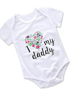 billige Babytøj-Baby Pige En del Daglig I-byen-tøj Blomstret Trykt mønster, Bomuld Polyester Sommer Kort Ærme Sødt Aktiv Hvid