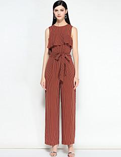 billige Jumpsuits og sparkebukser til damer-Dame Vintage Aktiv Elegant & Luksuriøs Stripet, Vintage Stil Høy Midje Chinos