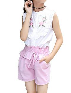 billige Tøjsæt til piger-Pige Daglig Ferie Ensfarvet Trykt mønster Tøjsæt, Bomuld Polyester Sommer Kortærmet Sødt Aktiv Lyserød Gul