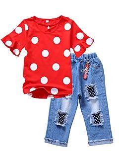 billige Tøjsæt til piger-Pige Daglig Ferie Ensfarvet Prikker Trykt mønster Tøjsæt, Bomuld Polyester Sommer Kortærmet Sødt Aktiv Rød Gul