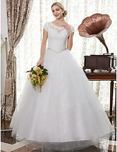 billiga A-linjeformade brudklänningar-A-linje Scoop Neck Golvlång Satäng / Spets på tyll Bröllopsklänningar tillverkade med Applikationsbroderi / Kristalldetaljer av LAN TING
