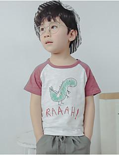 billige Overdele til drenge-Drenge Daglig Ensfarvet T-shirt, Polyester Sommer Kortærmet Sødt Lilla Kakifarvet