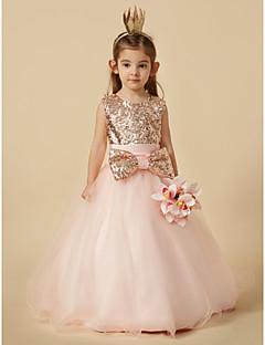 tanie Sukienki dla dziewczynek z kwiatami-Balowa Sięgająca podłoża Sukienka dla dziewczynki z kwiatami - Organza / Z cekinami Bez rękawów Zaokrąglony z Cekin / Kokardki przez LAN TING BRIDE®