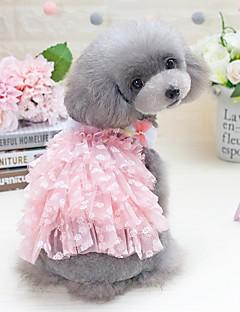 billiga Hundkläder-Hund Katt Små pälsdjur Husdjur Klänningar Hundkläder Blomma Prinsessa Rosett Svart Rosa 100% Polyester Kostym För husdjur Dam Fest /