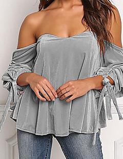 Χαμηλού Κόστους Γυναικείες Μπλούζες-Γυναικεία T-shirt Βασικό / Κομψό στυλ street Μονόχρωμο Με Κορδόνια