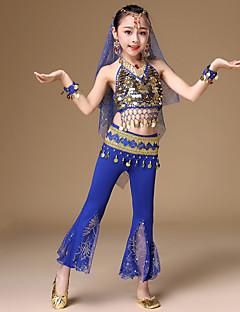 tanie Dziecięca odzież do tańca-Taniec brzucha Outfits Dla dziewczynek Wydajność Spandeks Monety miedziane Bez rękawów Wypada Top / Spodnie / Akcesorium Talia