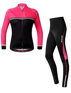 billige Sykkelklær-WOSAWE Dame Langermet Sykkeljersey med tights - Fuksia Kamuflasje Sykkel Jersey / Tights, 3D Pute, Refleksbånd Spandex