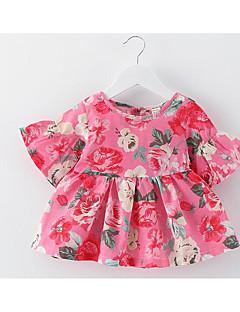 billige Babykjoler-Baby Pige Blomstret Kortærmet Kjole