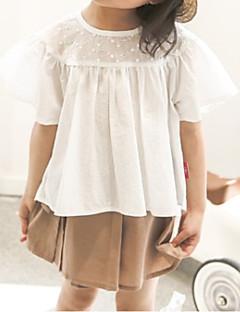 billige Pigetoppe-Børn Pige Ensfarvet Kortærmet Bluse