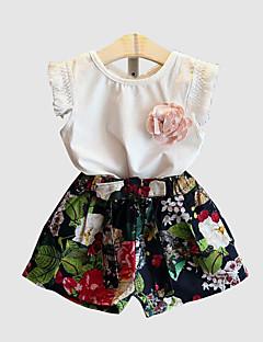 billige Tøjsæt til piger-Børn Pige Blomstret Uden ærmer Tøjsæt
