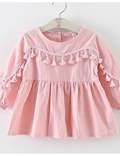 billige Babykjoler-Baby Pige Ensfarvet Langærmet Kjole