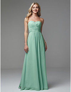 Χαμηλού Κόστους Φορέματα Διακοπών-Γραμμή Α Στράπλες Μακρύ Σιφόν Χοροεσπερίδα / Επίσημο Βραδινό Φόρεμα με Χάντρες / Πλισέ με TS Couture®