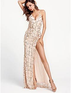 baratos Vestidos de Festa-Mulheres Tubinho Vestido Sólido Decote V Assimétrico