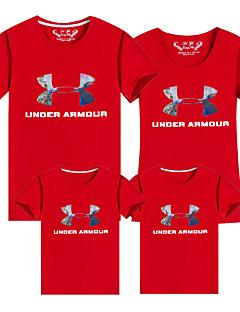 billige Sett med familieklær-Voksen / Barn / Baby Gutt Geometrisk / Fargeblokk Kortermet T-skjorte