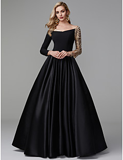 cheap Special Occasion Dresses-Princess Off Shoulder Floor Length Satin / Sequined Sparkle & Shine / Celebrity Style Prom / Formal Evening Dress with Sequin / Pleats by TS Couture®