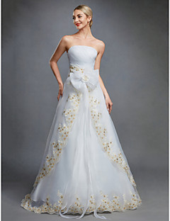 cheap Wedding Dresses-Ball Gown Strapless Floor Length Organza Made-To-Measure Wedding Dresses with Bowknot / Embroidery / Sash / Ribbon by LAN TING BRIDE® / Wedding Dress in Color