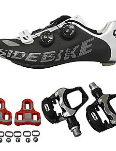 billiga Cykling-SIDEBIKE Cykelskor med pedaler och klossar / Skor för vägcykel Kolfiber Anti-halk, Bärbar Cykelsport Röd och vit / Svart+Silver Herr
