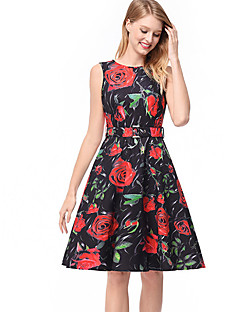 Χαμηλού Κόστους Γυναικεία Φορέματα-Γυναικεία Γραμμή Α Φόρεμα - Φλοράλ Ως το Γόνατο