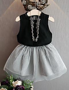 billige Tøjsæt til piger-Børn Pige Ensfarvet / Stribet Uden ærmer Tøjsæt