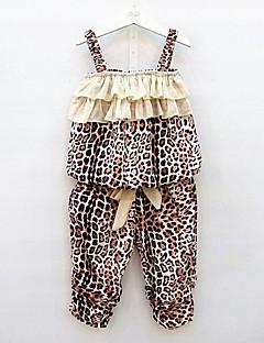 billige Tøjsæt til piger-Børn Baby Pige Leopard Uden ærmer Tøjsæt